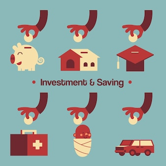 Various Investment & Saving Present by Hands and Elements.