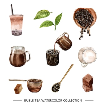 Various isolated watercolor bubble tea