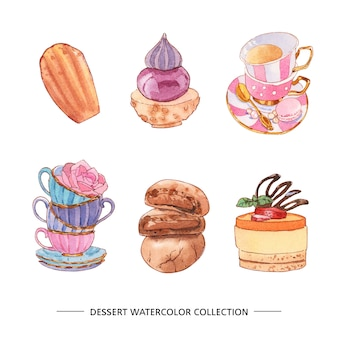 Various isolated watercolor dessert illustration