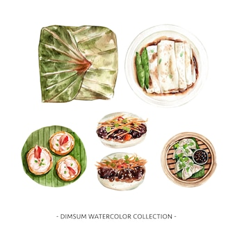 Various isolated watercolor dim sum illustration for decorative use.