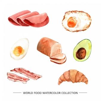さまざまな孤立した水彩食べ物イラスト