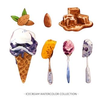 装飾的な使用のための様々な分離水彩アイスクリームイラスト。