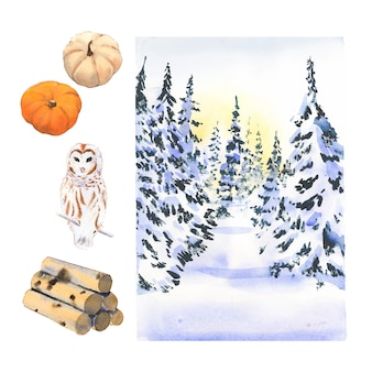 Various isolated watercolor winter home collection illustration .