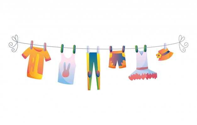 Various items of baby clothes on rope isolated  illustration on white background.