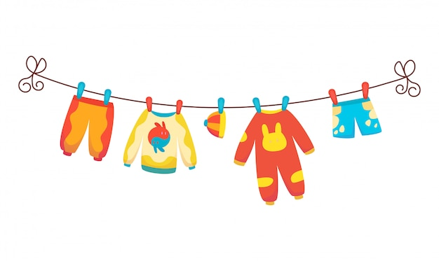 Various items of baby clothes on rope isolated illustration on white.