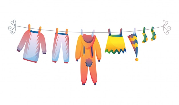 Various items of baby clothes on rope isolated vector illustration on white background