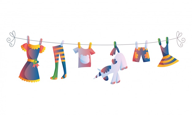 Various items of baby clothes on rope isolated vector illustration