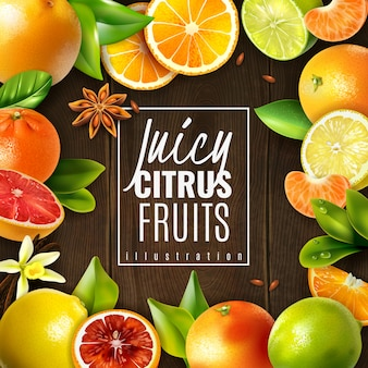 Various juicy citrus fruits and condiments on wooden