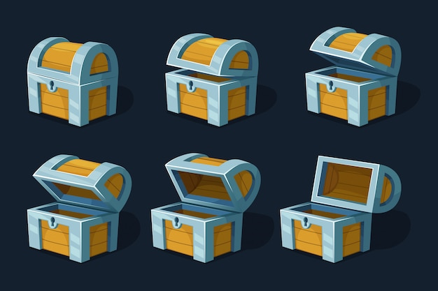 Различные ключевые кадры анимации деревянный сундук или коробка. мультфильм