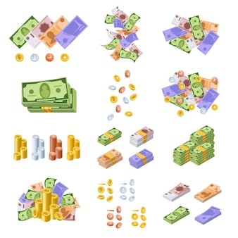 Various kind of money and monetary currencies, in form of cash, paper bills, gold and silver coins.