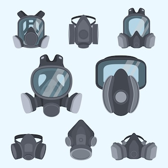 Various kinds of gas mask set.gas mask for firefighters and military. respirator mask.