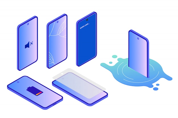 Various kinds of smartphone damamge, isometric