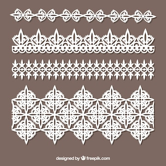 Various lace borders  in flat design