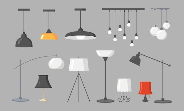 様々なランプフラット写真集。漫画のモダンなシャンデリア、電球の孤立したイラストとライトペンダントと天井ランプ。インテリアデザインの要素と家具のコンセプト