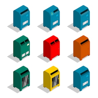Various letter boxes vector.