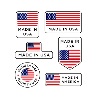 Various made in usa labels set