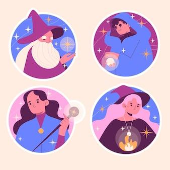 Collezione di illustrazioni di vari maghi