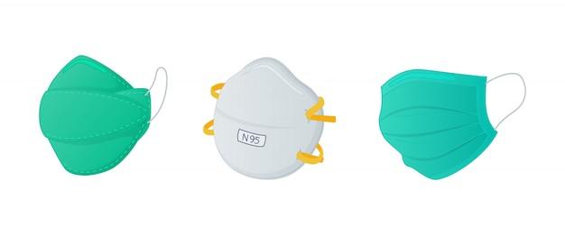 モダンなフラットスタイルのn95外科用マスクと通常のマスクを備えたさまざまなマスカーセットのコレクション