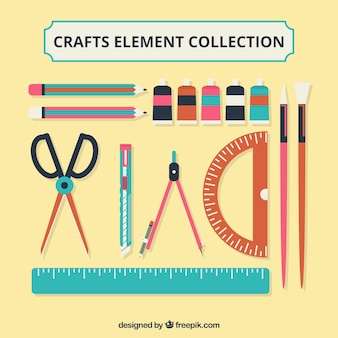 Various materials for craftwork in flat design