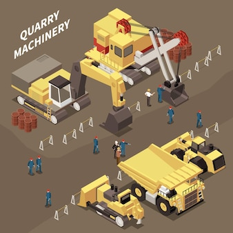 Various mining machinery equipment and miners 3d isometric illustration