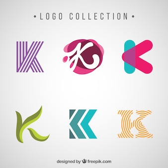 Various modern and abstract logos of letter k