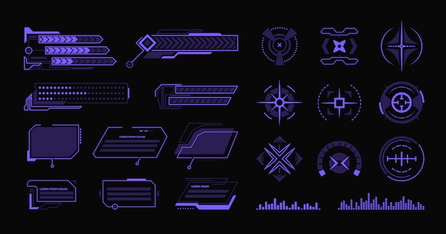 Various modern hud flat elements set