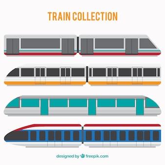 Various modern trains in flat design