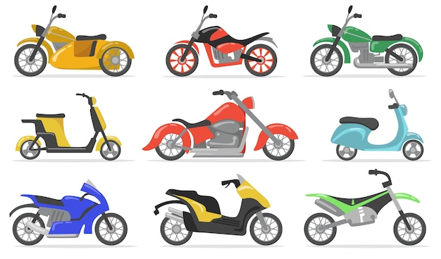 다양한 오토바이 플랫 아이템 세트. 만화 오토바이, 모토 사이클, 스쿠터 및 자전거 절연 벡터 일러스트 컬렉션. 운송 및 배달 개념