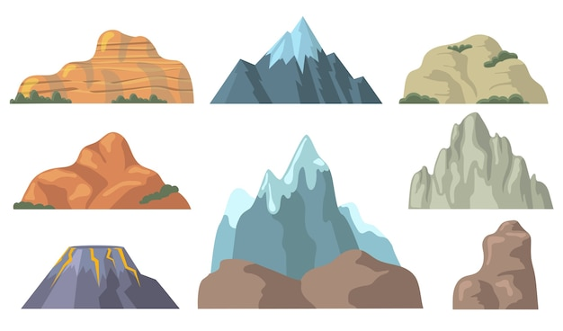 Various mountain peaks flat icon set. cartoon shapes of rocky hill, snowy promontory top, rock, volcano isolated vector illustration collection.