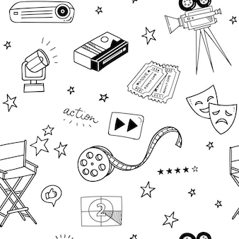 Various movie stuff doodle seamless background