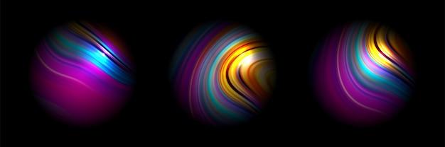 抽象的な活気に満ちたサークルカラフルな惑星を持つ様々な色とりどりのグラデーション球