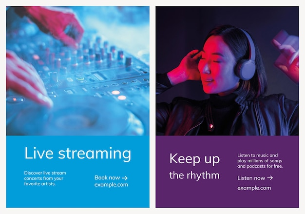 Различные музыкальные рекламные шаблоны для плакатов Бесплатные векторы