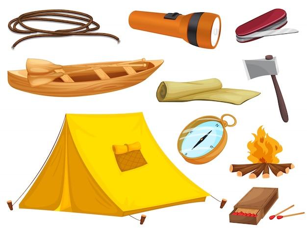 キャンプの様々なオブジェクト