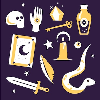 Various objects and snake esoteric elements