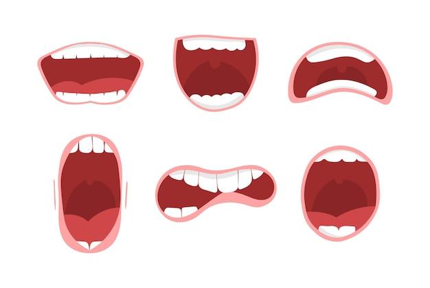 Различные варианты открытого рта, изолированные на белом фоне