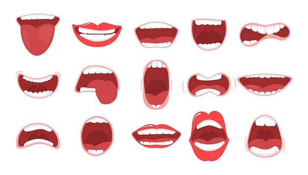 입술과 치아가있는 다양한 입 열기 옵션
