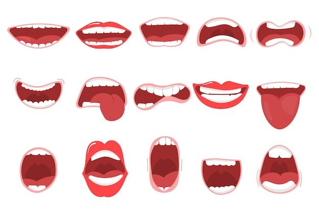 唇、舌、歯を備えたさまざまな口を開けるオプション。さまざまな表情で設定された面白い漫画の口。歯を浮かべて、舌を突き出して、びっくり。漫画
