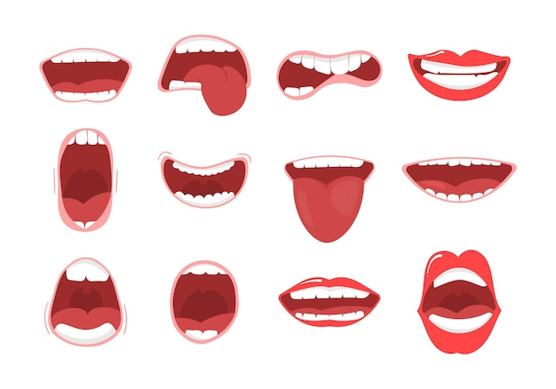 Various open mouth options with lips, tongue and teeth