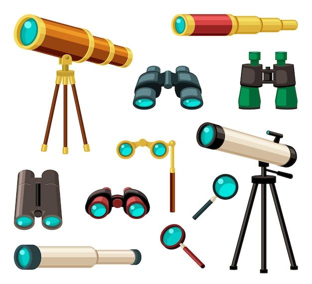 다양한 광학 기기 세트. 세련된 금도금 복고풍 단안경 골동품 및 현대 망원경