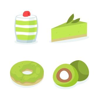 Various organic sweets of matcha pack