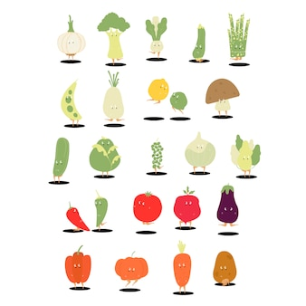 Various organic vegetable cartoon characters set