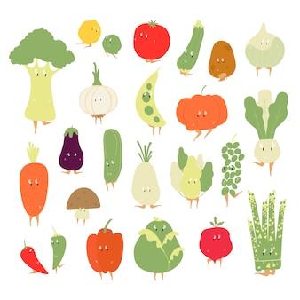다양 한 유기농 야채 만화 캐릭터 벡터 세트