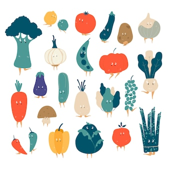 Various organic vegetable cartoon characters vector set
