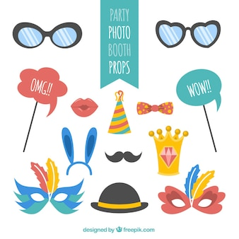 Various party elements for photo booth