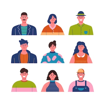 Various people avatars with clothes