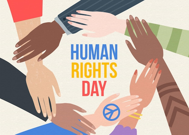Various people hands together human rights day