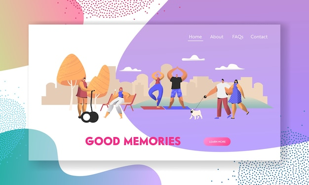 Various people having good day in public park relaxing landing page template