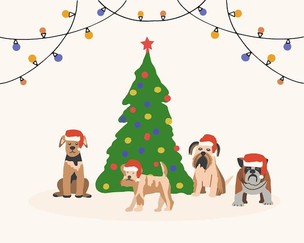 クリスマスツリーの背景にサンタクロースの帽子をかぶった様々なペットの犬
