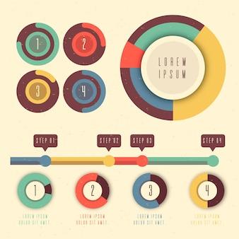 フラットなデザインのさまざまな円グラフのインフォグラフィック