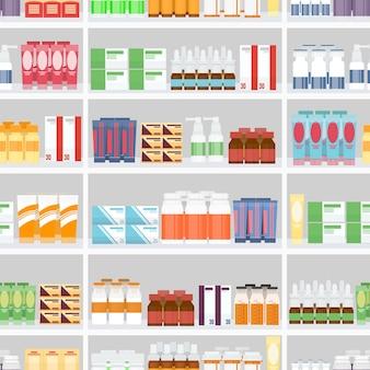薬局の棚に陳列されている販売用のさまざまな錠剤や薬。シームレスな灰色の背景で設計されています。